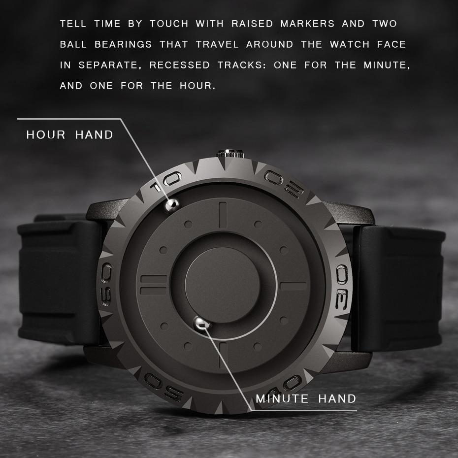 Часы Eutour Мужские кварцевые с магнитной указкой, оригинальные модные с резиновым ремешком