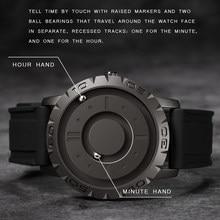 Eutour original neuf pointeur magnétique gratuit concept montre à quartz montre pour hommes bracelet en caoutchouc de mode