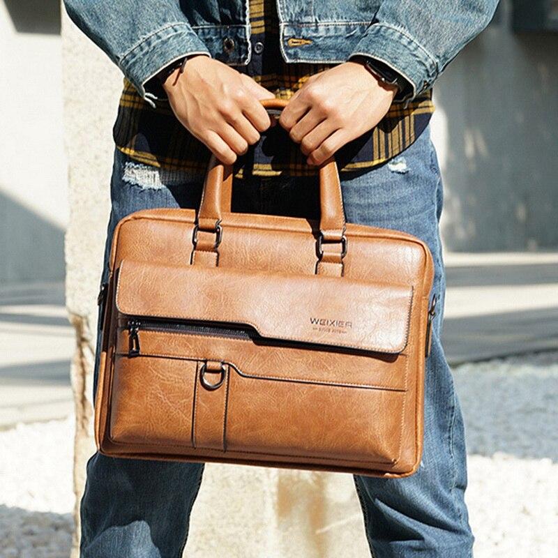 New Retro Men Solid Color Briefcases Faux Leather Briefcase Large Capacity Totes Shoulder Crossbody Bag Business Men Handbags