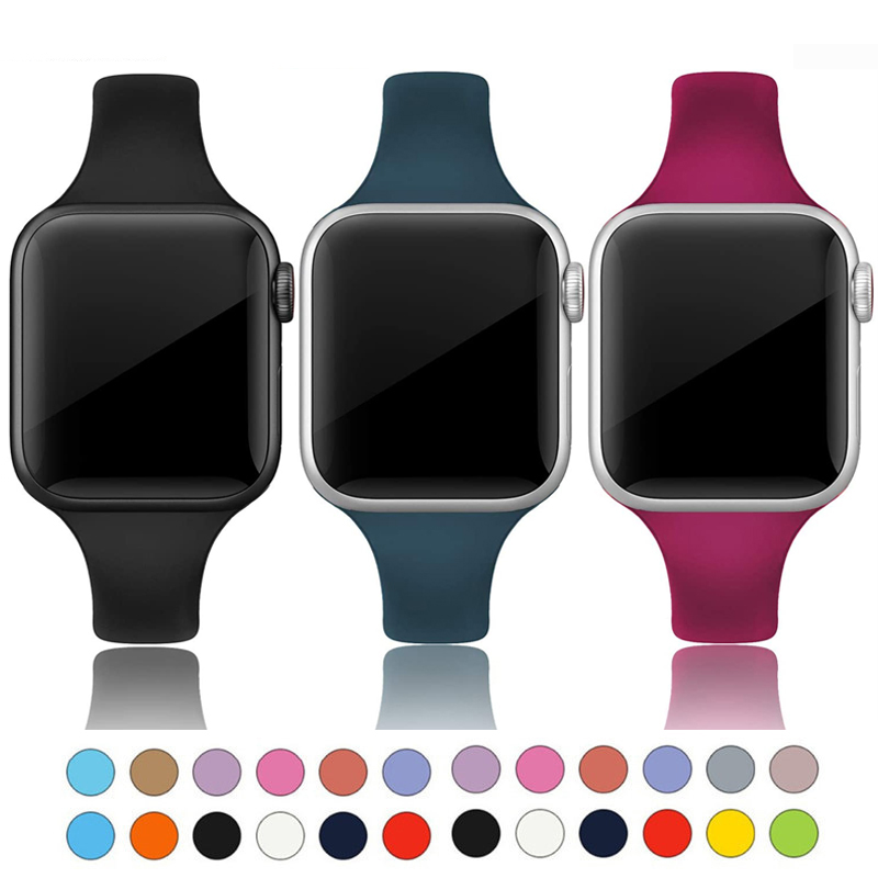 Ince kayış için Apple saat bandı 40mm 44mm 38mm 42mm yumuşak spor silikon bilek kemer bilezik watchband iWatch serisi 6 se 5 4 3