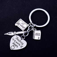 Teaching Is A Work Of Heart Love Heart Engraved Words Keyrings Teacher Pen Notebook Pendant Keychains Teachers Jewelry Gifts Hot