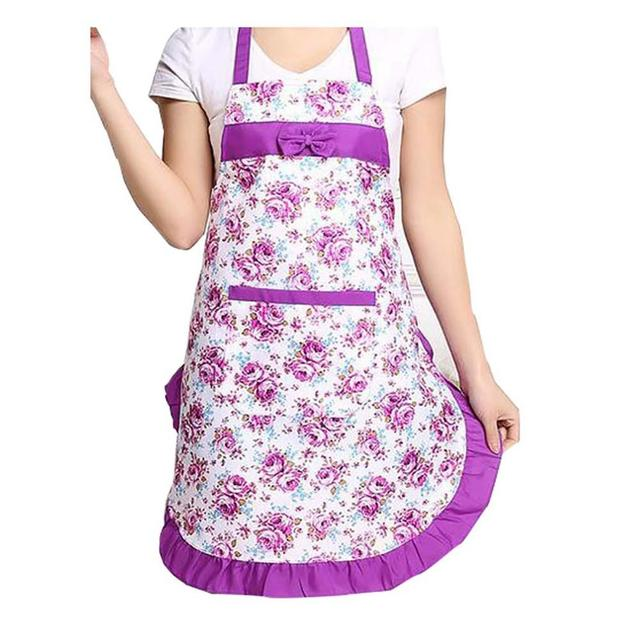 Oil-proof Cooking Apron For Women Adjustable Kitchen Cooking Coffee Shop Flower Printed Bowknot Cleaning Aprons With Pocket 3