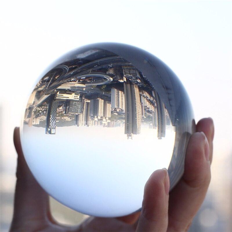 כדור בדולח קוורץ זכוכית שקוף כדור פנג שואי ברור צבע קסם טבעי זכוכית כדורי קישוט צילום אבזרים