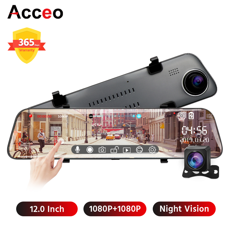 Acceo X5 12 Inch Touch <font><b>Car</b></font> <font><b>DVR</b></font> <font><b>Mirror</b></font> Camera Recorder FHD 1080P Stream Rearview <font><b>Mirror</b></font> Auto Dashcam With 1080P Rear View Camera image