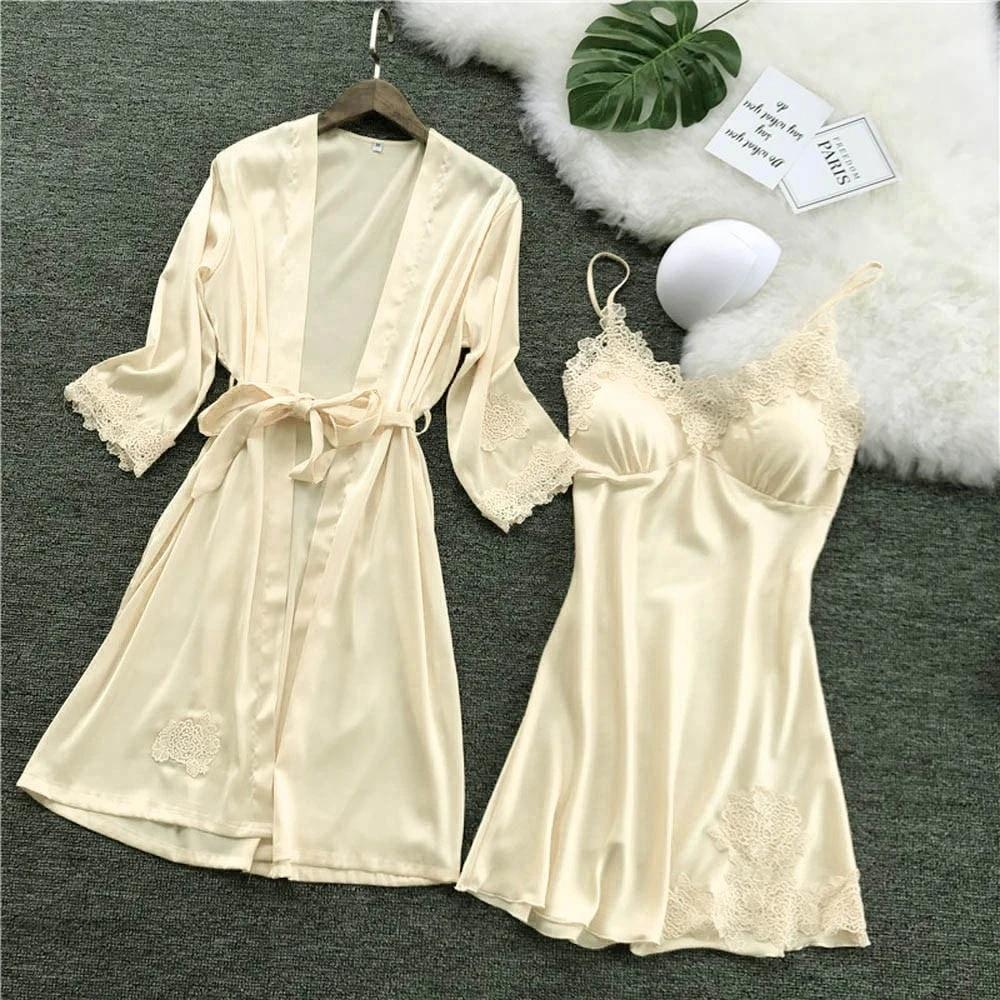 Sexy-Lingerie-Women-Silk-Lace-Robe-Dress-Babydoll--Nightgown-Sleepwear kimono
