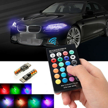 2 LED T10 W5W 501 RGB Colour Changing Car Wedge Side Light Bulbs Remote Control T10-18smd Silica Gel RGB Car Lights