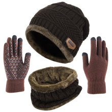 QINGTIAN Mens Hats And Scarfs Set,Hat Scarf And Gloves Sets,Hat And Circle Scarf Gift Set,Knitted Double-sided Color-block,Winter 3 Pcs Set Hat Scarf Gloves For Men /& Women,Unisex