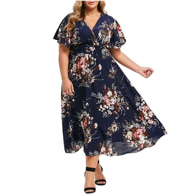 Plus Size Floral Printed V-Neck Short Sleeve Casual Dress 4