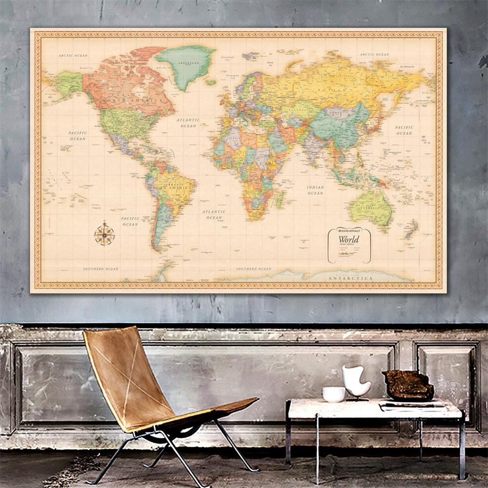 150x100cm World Map Classic Edition Non-woven Vinyl Spray Map Without National Flag image