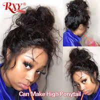 Rxy-Peluca de cabello humano rizado para mujer, postizo de encaje Frontal prearrancado con pelo de bebé, pelucas de cabello humano brasileño Remy profundo, 360