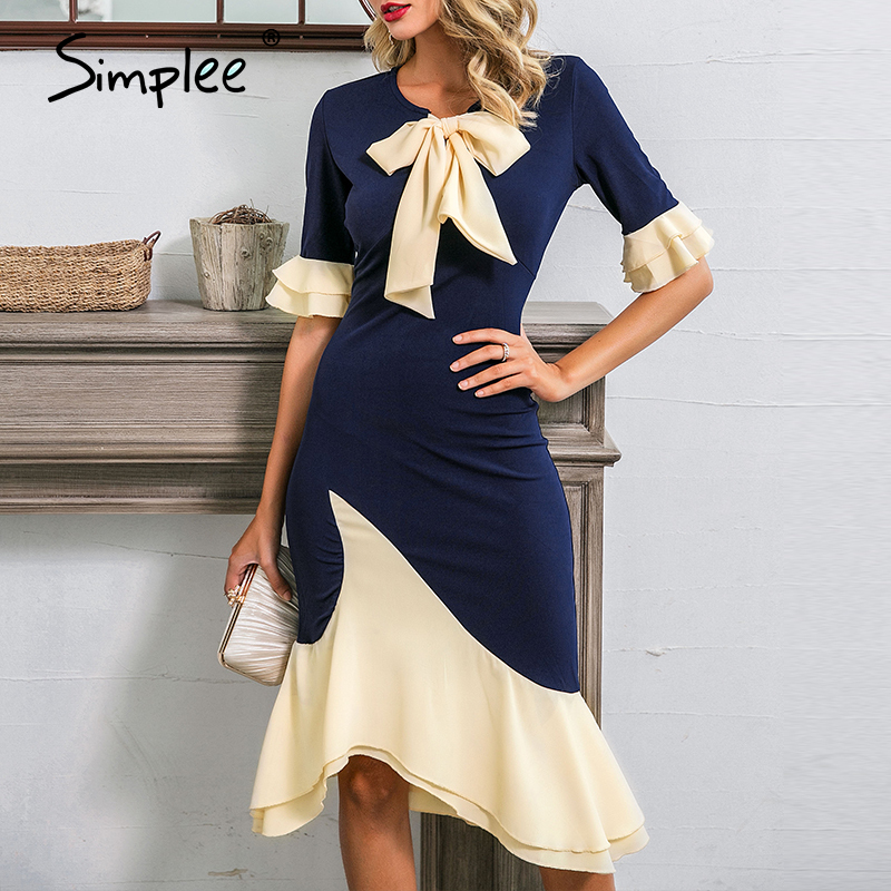 Simplee Women O-neck Ruffled Office Dress Sexy Mermaid Casual Elegant Ladies Party Dress Patchwork Work Wear Bow Bodycon Dress