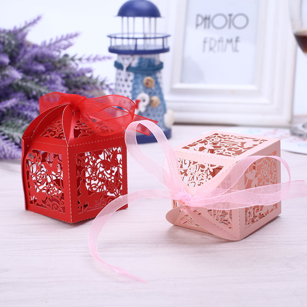 Ribbon Gift Box Candy Boxes Butterfly Hollow 5 Color Festival Packaging Craft Paper Portable Cute Food Container Party Decor
