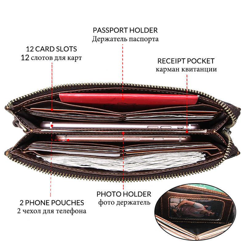 CONTACT'S брендовый клатч RFID из натуральной кожи с отделением для карт мужские длинные кошельки с ремешком тонкий кошелек на молнии 2019