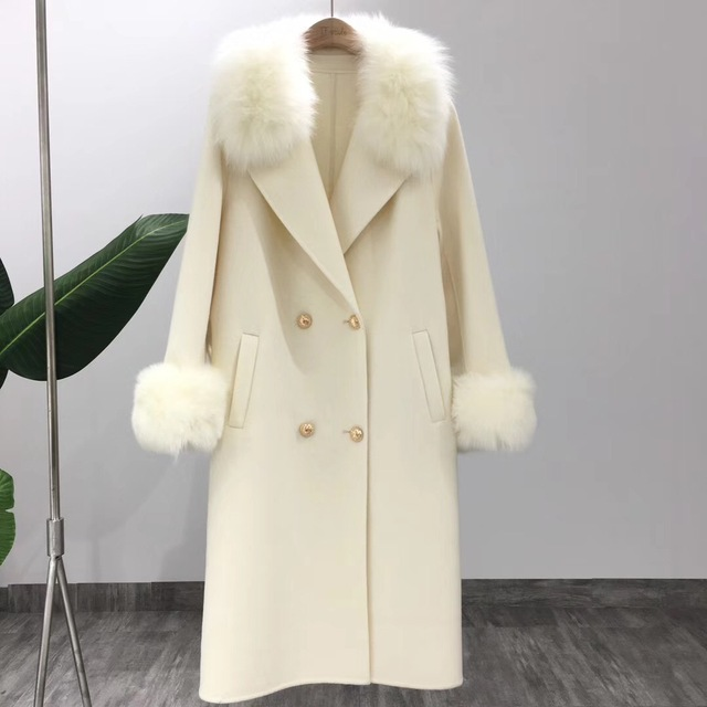 OFTBUY 2019 Real Fur Coat Winter Jacket Women Natural Fox Fur Collar Cashmere Wool Blends Long Outerwear Ladies Streetwear 1