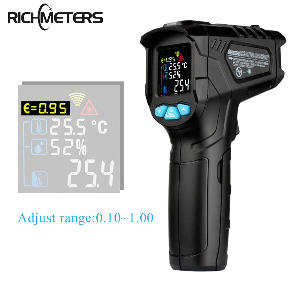 RICHMETERS 550PRO Digital infrared Thermometer laser Temperature  Gun Colorful LCD Screen Pyrometer High/Low AlarmTemperature  Instruments   -