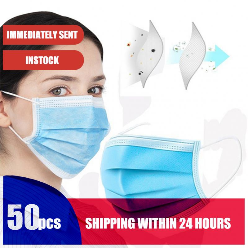 In Stock 1/2/5/50PCS 3 Layers Comfortable Disposable Face Mask  Earloop Face Masks Anti Pollution Droplet Respirator Lot Masks