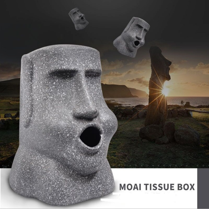 Moai Statues In Easter Island Glasses Case Eyeglasses Clam Shell Holder Storage Box