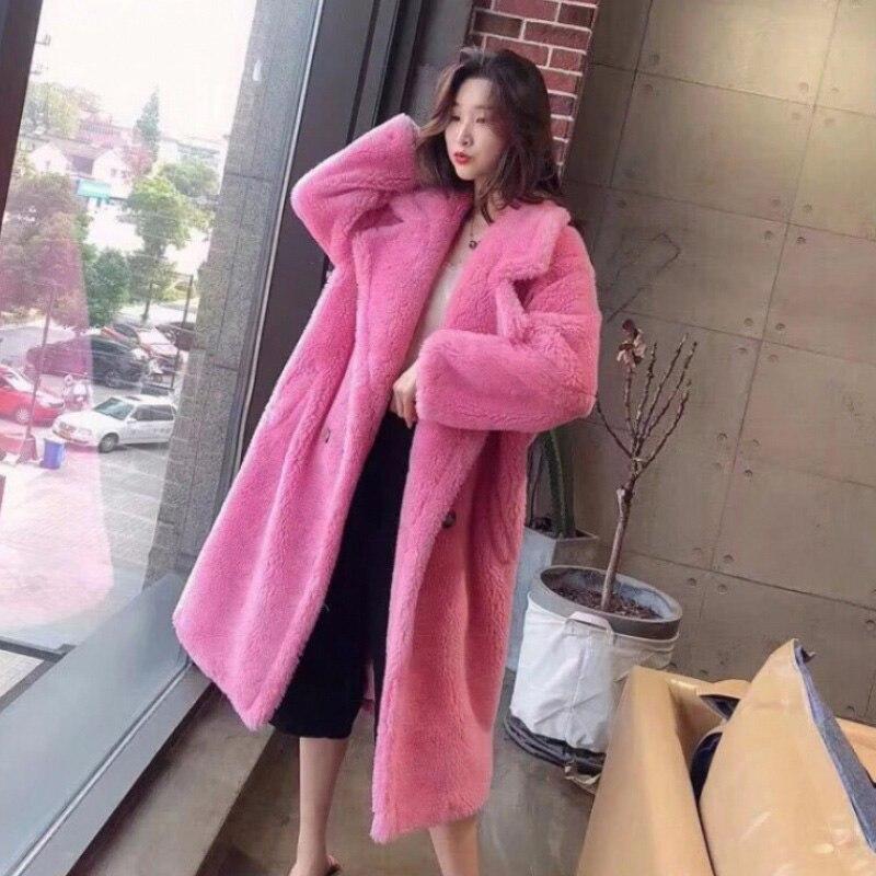 Femmes fourrure ours en peluche manteau en peluche 2019 automne hiver surdimensionné longs manteaux en peluche chaud à manches longues solide mode pardessus femme - 2
