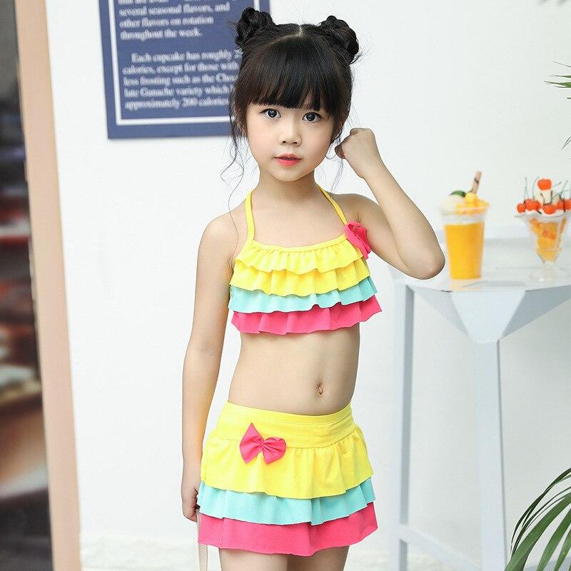 Bathing Suit Girls Cute Split Skirt Bikini Briefs Beach Bubble Hot Spring Baby Big Boy Swimwear