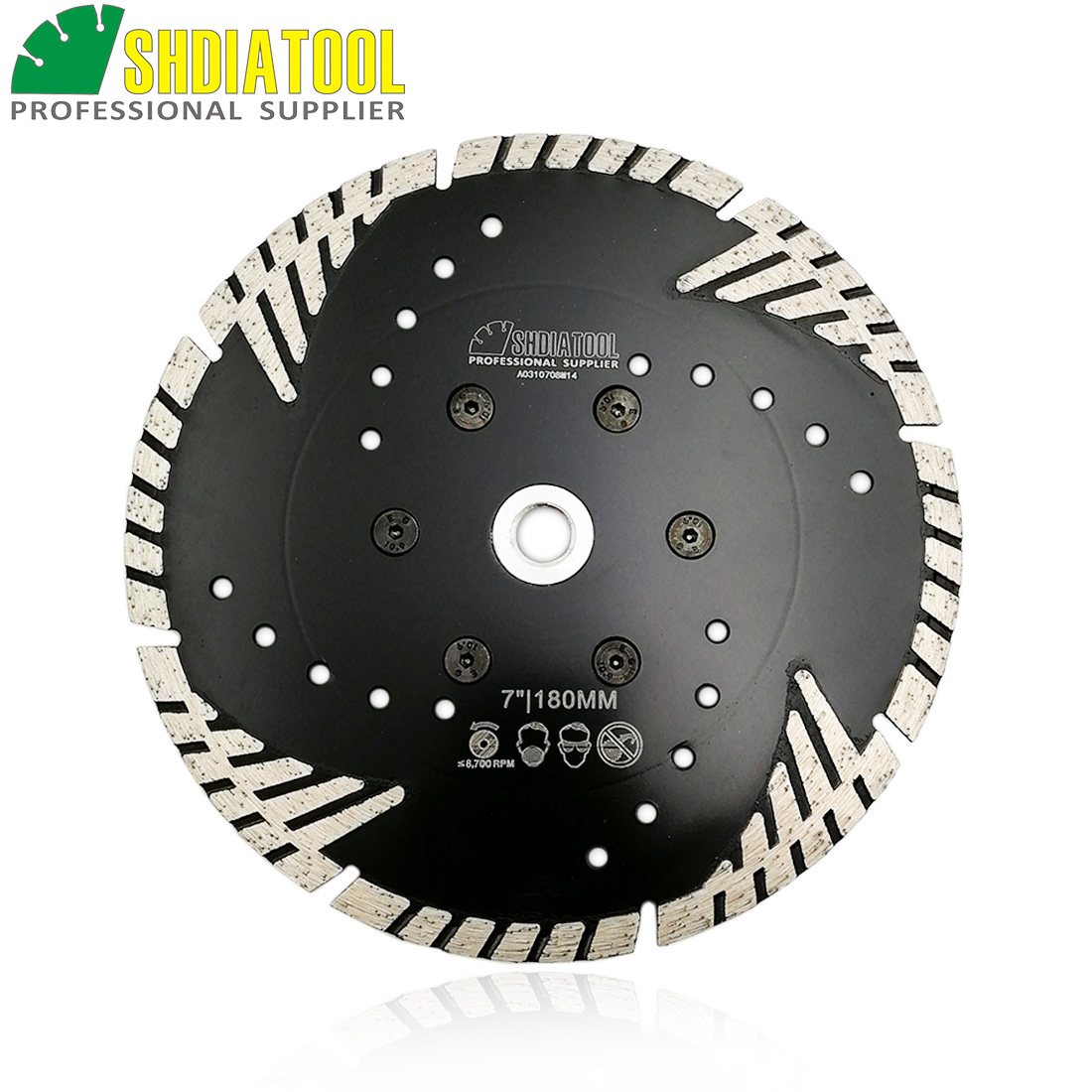 SHDIATOOL 180mm Hot Pressed Diamond Turbo Blade With Slant Protection Teeth7