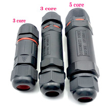 1pcs/lot Cable Connector Waterproof IP68outdoors Electrical Wire Sealed Retardant 3/5 pin core wire for LED Light