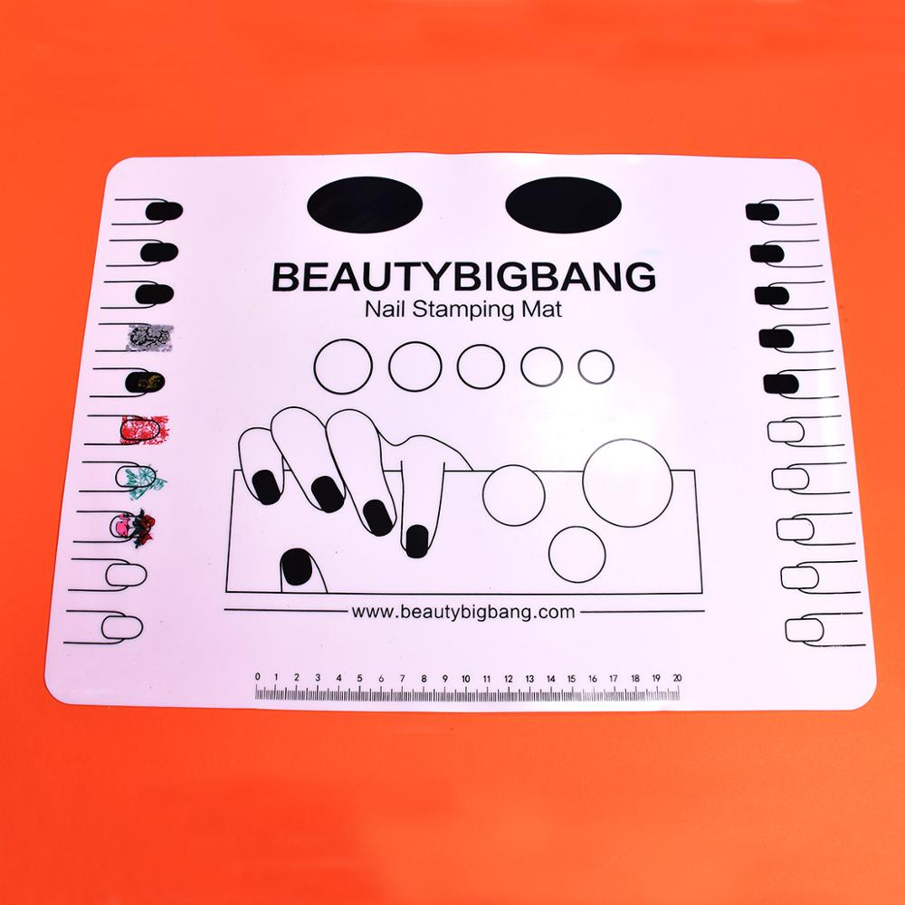 BeautyBigBang Nail Stamping Mat Clear Silicone Nail Art Plate Color Pat Washable Mat Table Transfer Tools Manicure Tool Set