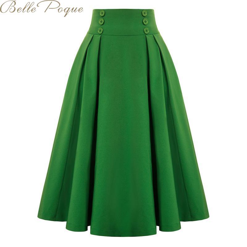 Belle Poque Women High Waist Elastic Skirt A Line Pleated Swing Retro Skirts Female Spring Summer Vintage Skirt 2020