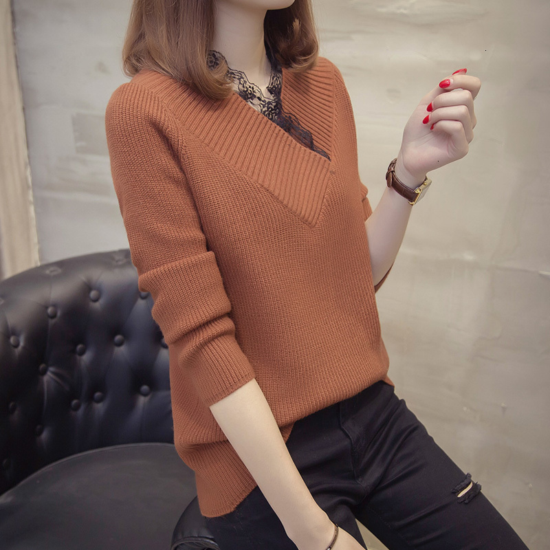 2019 New Trui Herfst And Winter Women V -neck Trui Edges Neck Neck Effects Colour Trui Female Knit Top Pull Female