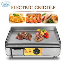 Electric Griddle Stainless Steel Grill Hotplate Flat Pan With Temperature Control For Commercial Home Kitchen 220v commercial stainless steel all flat grill griddle bbq plate electric contact grillplate