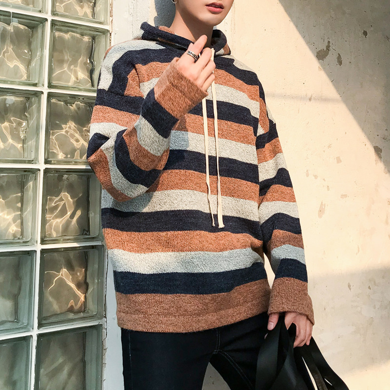 Winter Hooded Sweater Men Warm Fashion Contrast Color Casual Knit Pullover Men Sweter Clothes Loose Striped Knitting Sweaters
