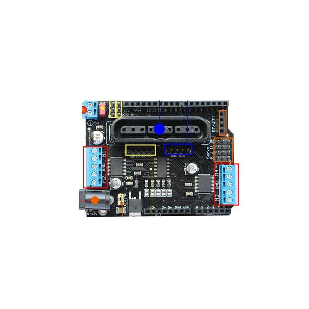 v com 4 canais motores servos portas ps2 joystick controle remoto
