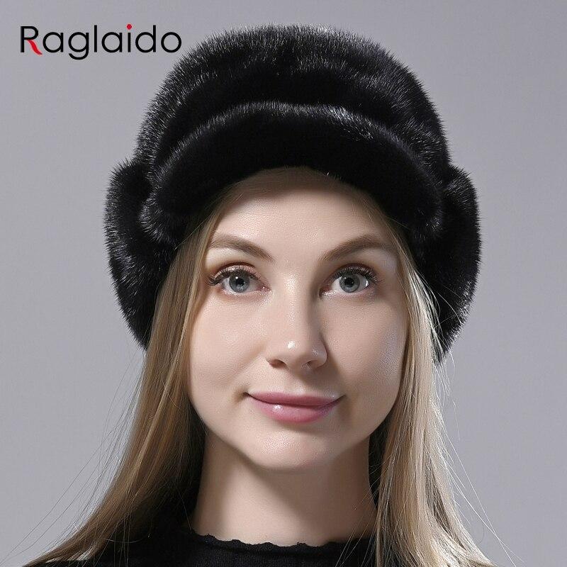 Chapéus de pele de vison de pelt completa para mulheres de alta qualidade chapéu russo elegante chapéu de neve com caudas elegante quente ushanka pele chapéus