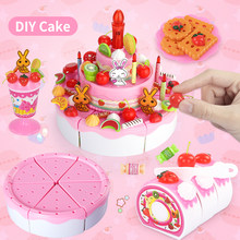 DIY Kitchen Pretend Play Toys Birthday Cutting Cake Decorating Party Set miniature food educational Children's toys for girls
