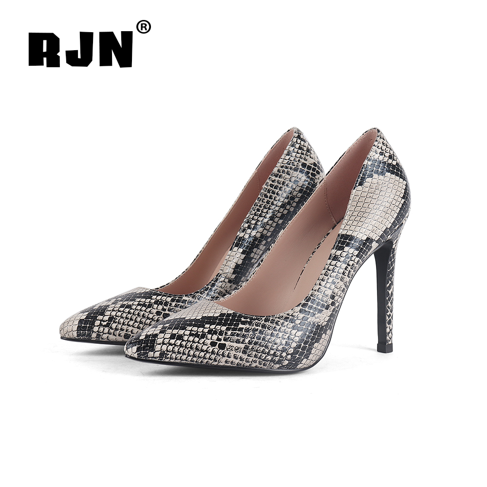Promo RJN Fashion Serpentine Printing Pumps Sexy Pointed Toe Super High Thin Heel Slip-on Shallow Well Shoes Women Pumps For Party R08