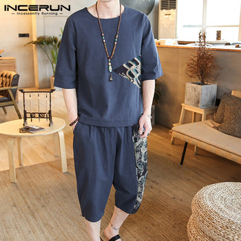 INCERUN Chinese Style Men Sets Printed Patchwork Half Sleeve O Neck Shirt & Pants Cotton Casual Vintage 2020 Streetwear Men Suit