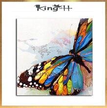 Arthyx-pintura a mano para pinturas de mariposa, pintura de pared para colgar imágenes en lienzo, abstractas de animales de decoración