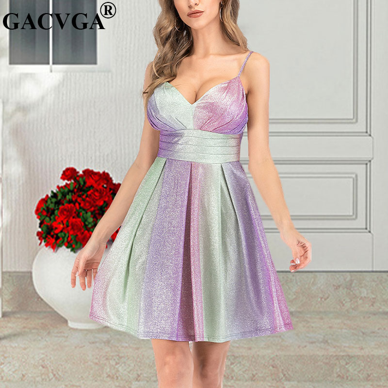 GACVGA Glitter Rainbow Summer <font><b>Dress</b></font> <font><b>Casual</b></font> Women <font><b>Spaghetti</b></font> <font><b>Strap</b></font> Vintage Elegant A-Line <font><b>Dresses</b></font> <font><b>Sexy</b></font> Party <font><b>Dress</b></font> Vestidos image