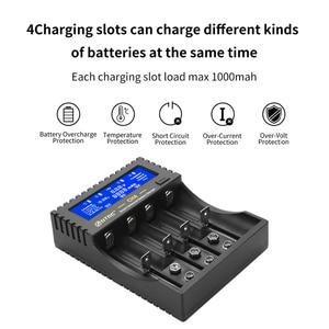 Image 3 - Htrc 4 slots carregador de bateria li ion li fe ni mh ni cd lcd carregador rápido inteligente para 26650 6f22 9v aa aaa 16340 14500 18650 bateria