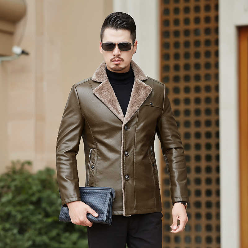עסקים מקרית בוטיק חורף גברים של עור אמיתי מעילי מותג חום כבש מעיל ומעילים עם פרווה צמר צווארון חם