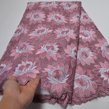 8 colors (5yards/pc) very beautiful embroidered Swiss voile fabric pink African cotton lace high quality for party dress CLP437