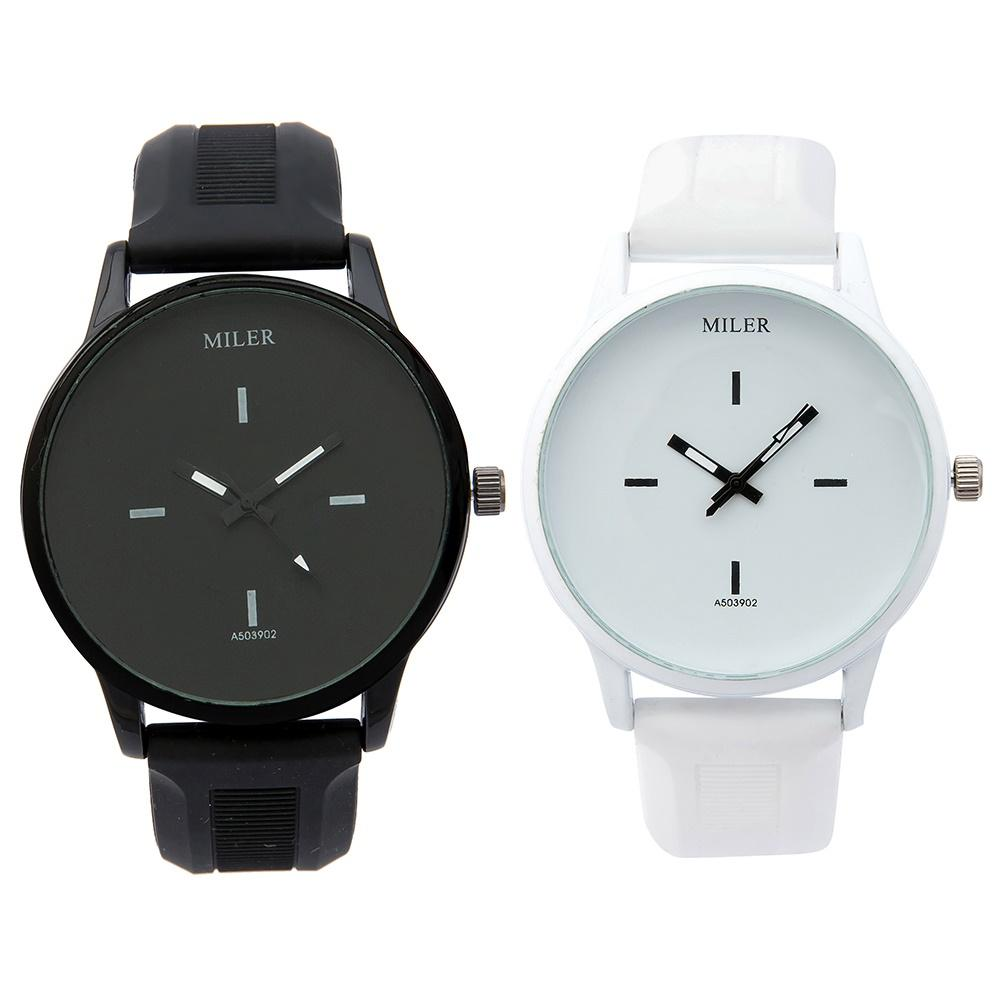 Fashion Couple Watch Men Women Casual Round Dial Adjustable Silicone Band Analog Quartz Wristwatch Lover's Watch