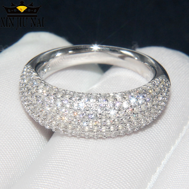 New European And American Fashion With Multi Rings Simple Platinum-plated Semicircular Inlaid With Gems  Women Rings