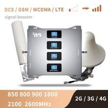 Amplificador de sinal 2g 3g 4g celular amplificador de sinal 4g celular lte band20 800 900 1800 2100 2600 repetidor móvel conjunto