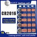 Оригинальный аккумулятор SONY CR2016, 15 шт./лот, 3 в, литиевые батареи CR 2016 для часов, пульт дистанционного управления игрушкой, компьютером, кальк...