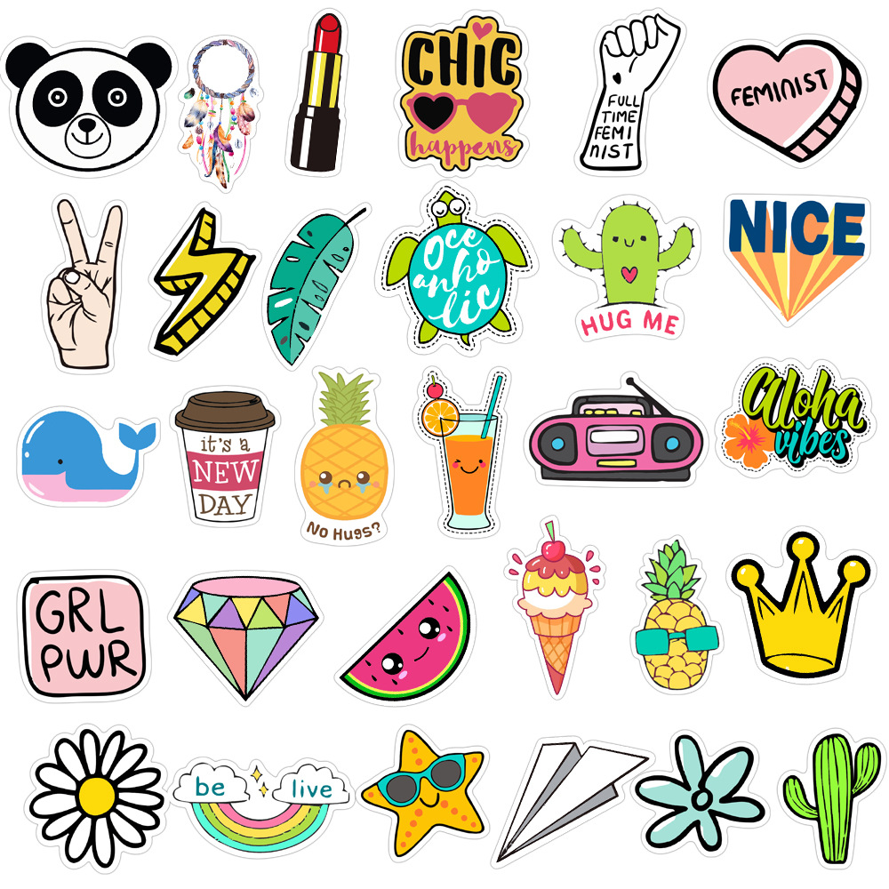 50Pcs kawaii Cute Vsco Sticker Pack For Decal Girls Things On Guitar Suitcase Laptop Phone Fridge Car Waterproof Stickers