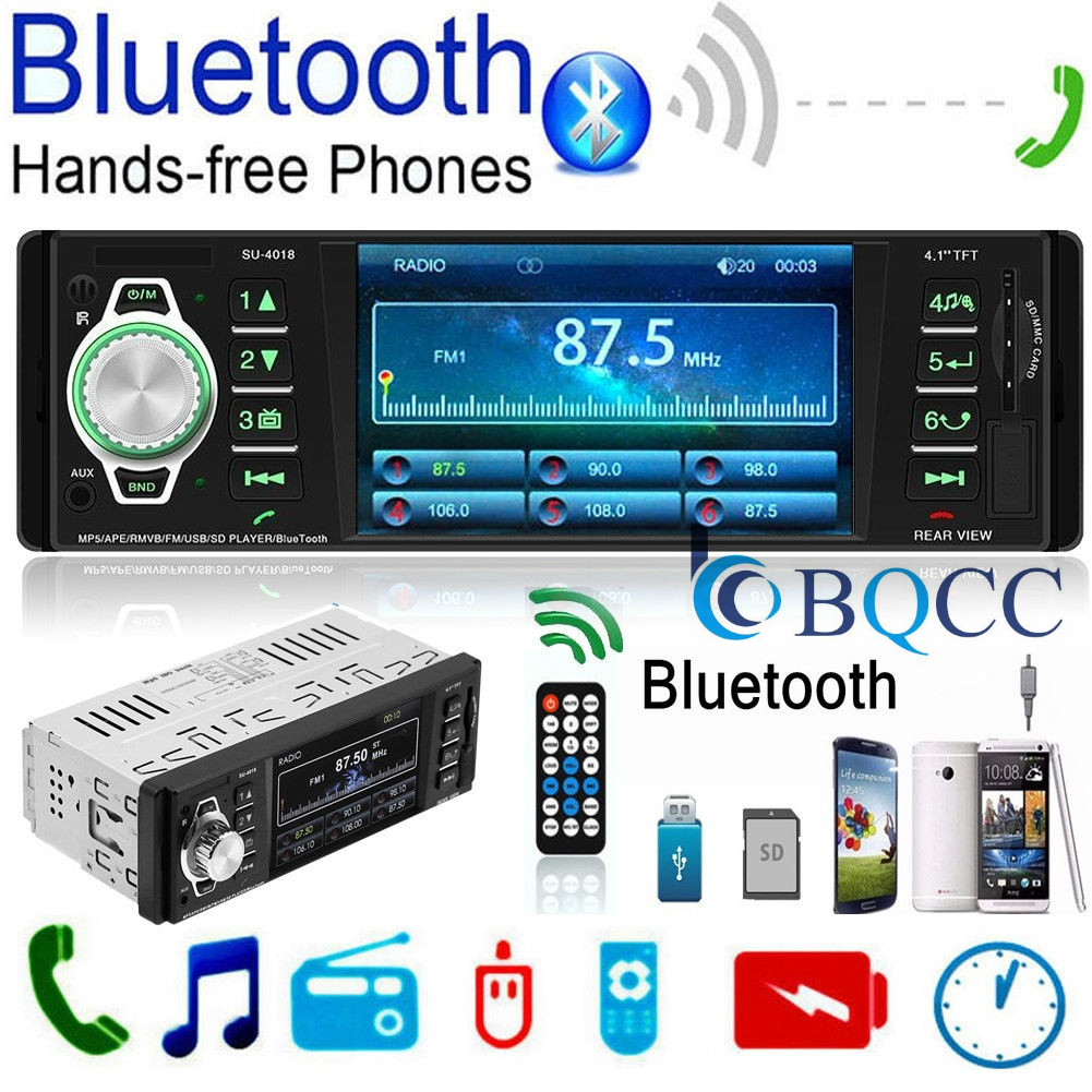 TFT  Handsfree SD USB 4/'/' 1 Din HD Car Radio Audio Stereo MP5 AUX Bluetooth FM