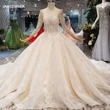 LSS148 כיכר צוואר מבריק חתונת שמלת יוקרה ארוך טול שרוול פתוח v בחזרה אור שמפניה חתונה שמלת nikah elbisesi