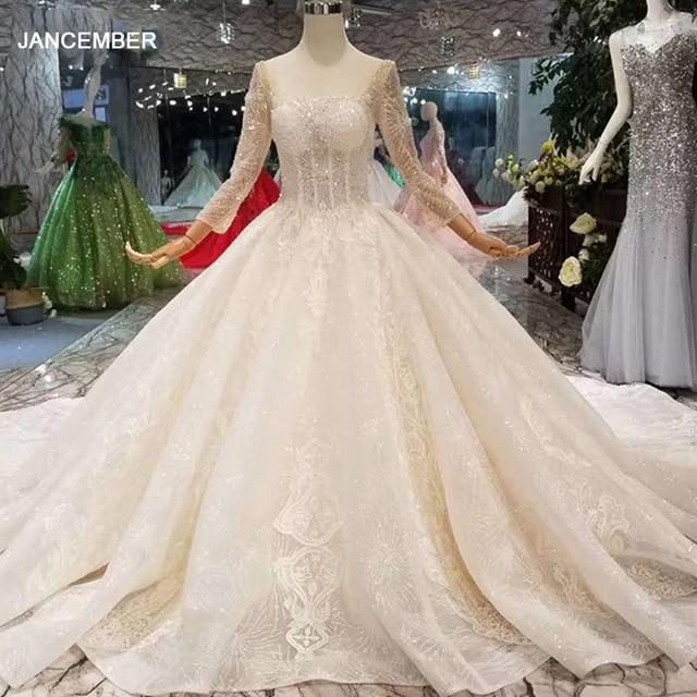 LSS148 ساحة الرقبة لامعة فستان الزفاف الفاخرة طويلة تول كم مفتوح الخامس الخلفي ضوء الشمبانيا ثوب زفاف nikah elbisesi