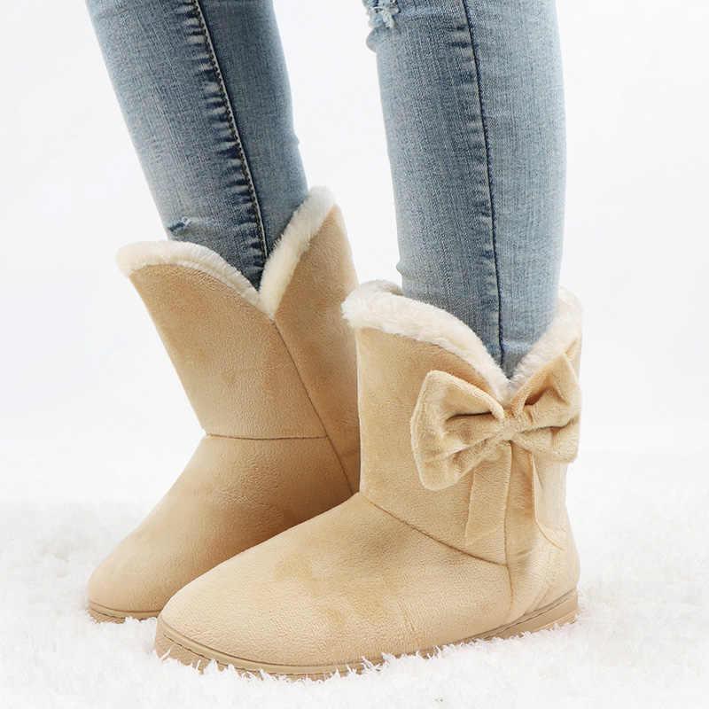 Frauen Stiefel Fliege Winter Schnee Stiefel Solide Frauen Stiefeletten Slip Auf Weibliche Casual Schuhe Runde Kappe Damen Schuhe botas Mujer