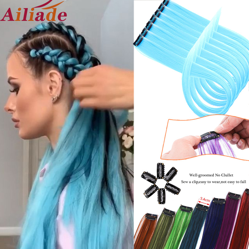 AILIADE Colored Hair Strands Hair Extension Highlight Rainbow Synthetic Pink Clip In One Piece Strips Long Straight Hairpiece
